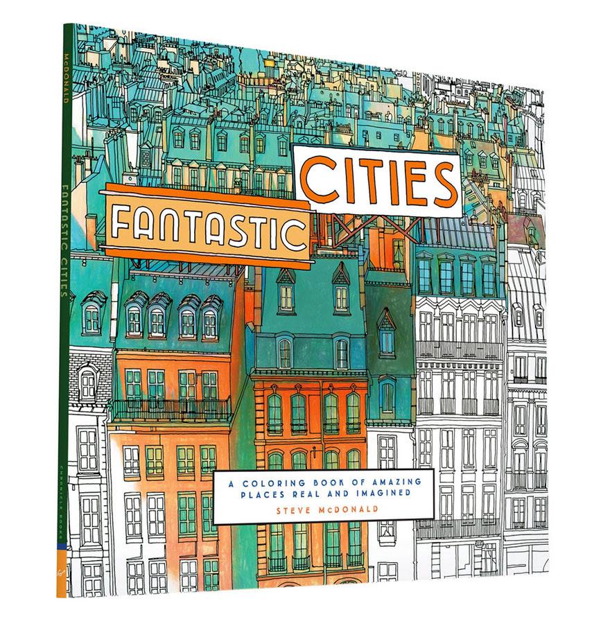 раскраски книга-взрослых-фантастические-города-Стив Макдональд-30
