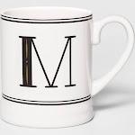 16oz Stoneware Monogram Mug Cream M - Threshold , Size: Medium, White