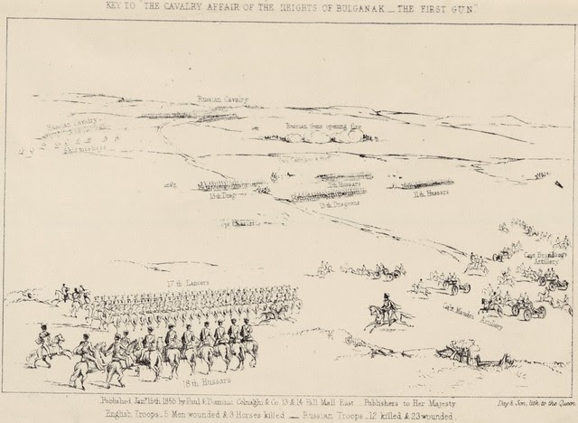 Key to The cavalry affair of the heights of Bulganak - the first gun, 19th Sepr. 1854