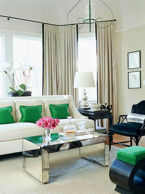 Suzie: Love the pops of bright green in this living room space  White modern furniture with ...