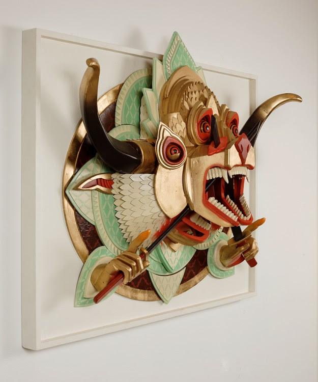 ajfossik bois tableau sculptre 06 625x750 Les monstres en relief dAJ Fosik  art