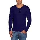 Alta Men's Slim Fit V Neck Long Sleeve 3 Button Up T-Shirt - Navy - Medium