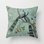 """A Teal Of Two Birds Chinoiserie Couch Throw Pillow by The Chinoiserie Pavillion - Cover (16"""" x 16"""") with pillow insert - Outdoor Pillow"""