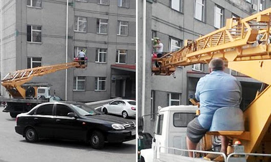 New dad hires crane to see newborn baby after hospital bans visit