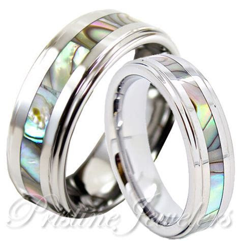 His Hers Tungsten Carbide Men Silver Wedding Band Promise