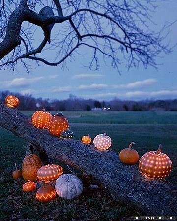 fall lighted pumpkins