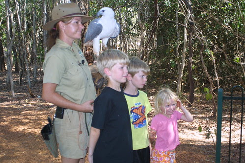 Anderson children with White-Bellied Sea Eagle