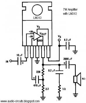 7W Audio Amplifier circuit with LM383 « Audio Circuit