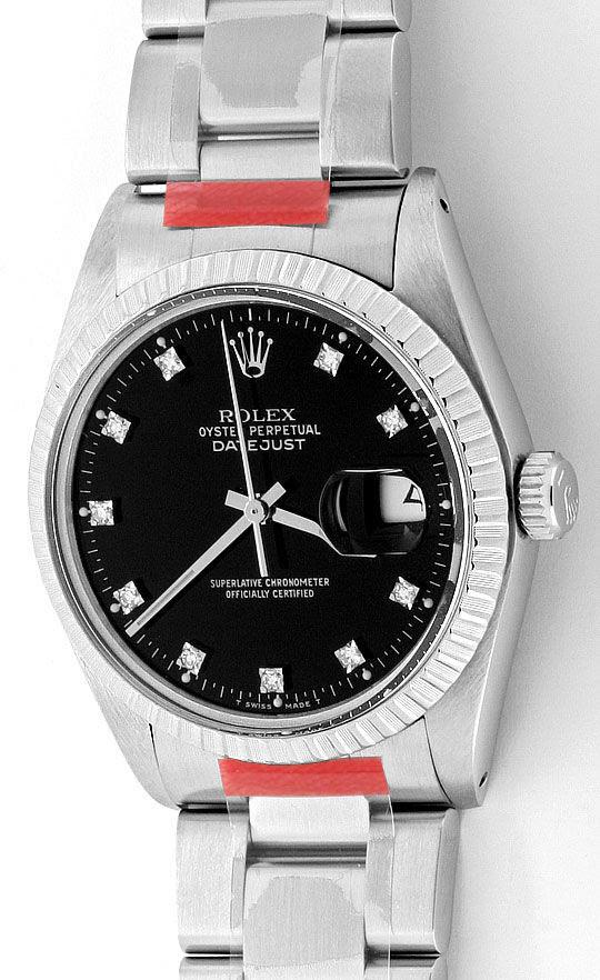 Foto 2, Rolex Datejust Herren-Uhr Edelstahl Diamant-Zifferblatt, U2064