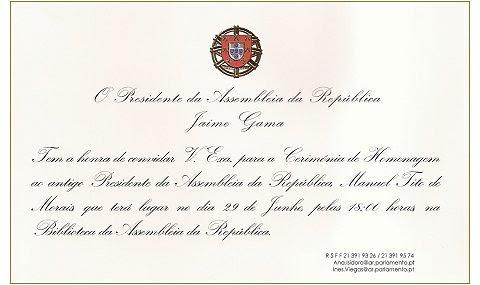 Convite Assembleia da República Homenagem Tito de Morais