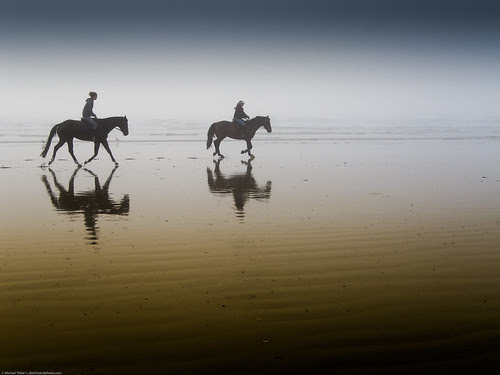 Two equestrian riders, girls on horseback, in low tide reflections.  Serene por mikebaird