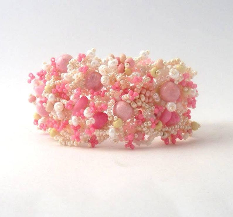 Pink Beaded Bracelet, Beadwork Bracelet, seed bead jewelry, freeform peyote bracelet, summer fashion - ibics