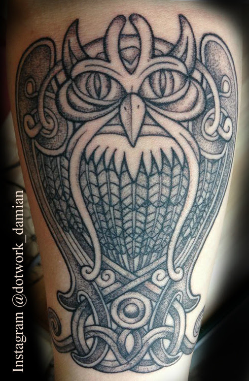 Geometric Dotwork Owl Tattoo