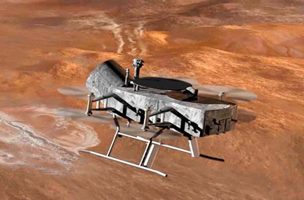A cropped version of the art concept depicting the Dragonfly spacecraft designed to study the surface of Titan.