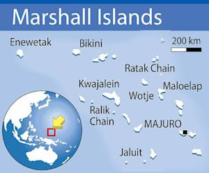 Map locating the Marshall Islands, in the northern …