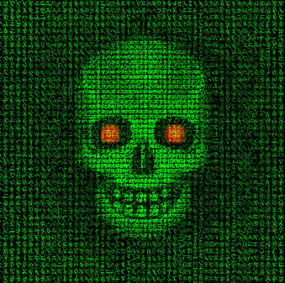 Ghost in the machine, devil in the data. To illustrate computer crime, hacking, infiltration, the evil of the dark web, and many other negative sides of modern life, the internet, and technology. Who knows who is watching you online?