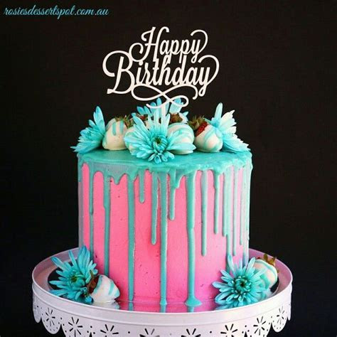 Electric pink and teal buttercream cake. A tall cake