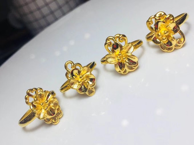 24K Pure Gold Ring Elegant Shiny Flower Beautiful Upscale Trendy Classic Jewelry
