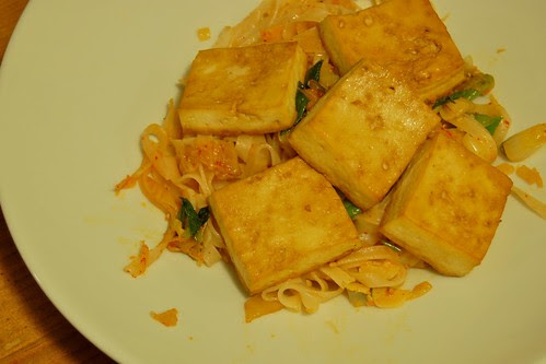 Broiled Tofu, Noodles, Kimchi