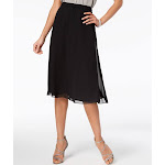 Alex Evenings Chiffon A-Line Skirt, Regular & Petites - Black