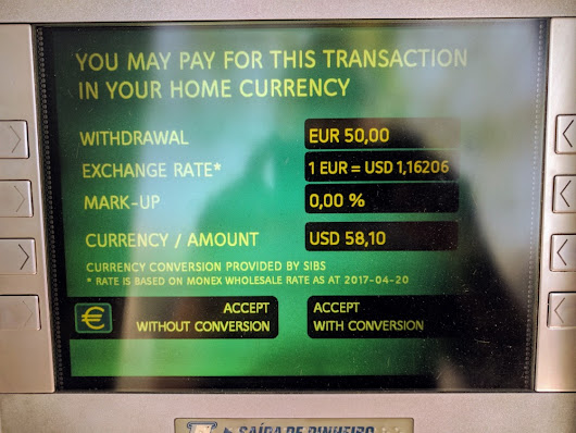A dark pattern at work: the overseas ATM that quotes a price in dollars