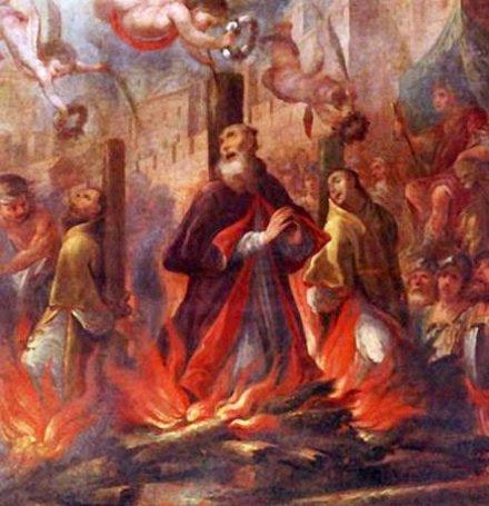 Detalle de un lienzo barroco con el martirio de los tres Santos.