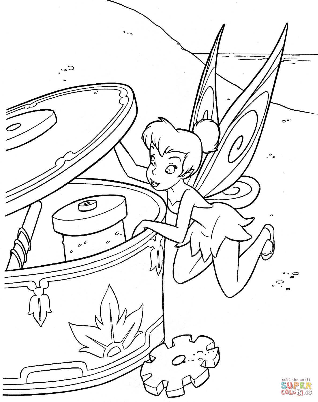 Ausmalbild: Tinkerbell schaut in die Musik-Dose ...