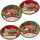 Certified International Winter's Plaid Individual Soup/Pasta Bowls - Set of 4, Black