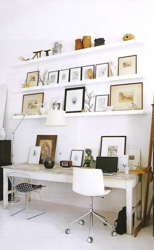 shelves enable quicker arrangements and an easier way to swap frames or objects in and out of the composition