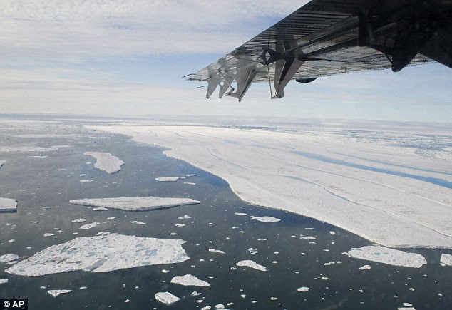 A chunk of ice is shown drifting after it separated from the Ward Hunt Ice Shelf off the north coast of Ellesmere Island in Canada. The Met Office has conceded there is no evidence that 'global warming' is happening