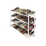 Whitmor Floor 20-Pair Shoe Stand, White