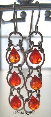 Wire wrap Crystal Earrings