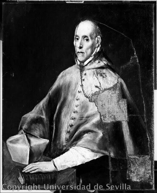 Restauración del cuadro de El Greco del Cardenal Tavera el 4-2-1939. Fotografía de José María González-Nandín y Paúl. Fototeca de la Universidad de Sevilla