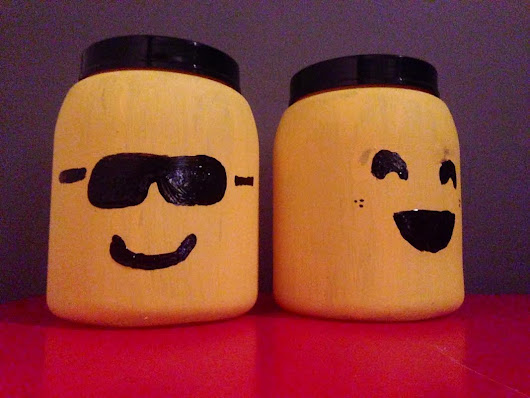Make a LEGO mini-figure head storage container out of protein shake containers