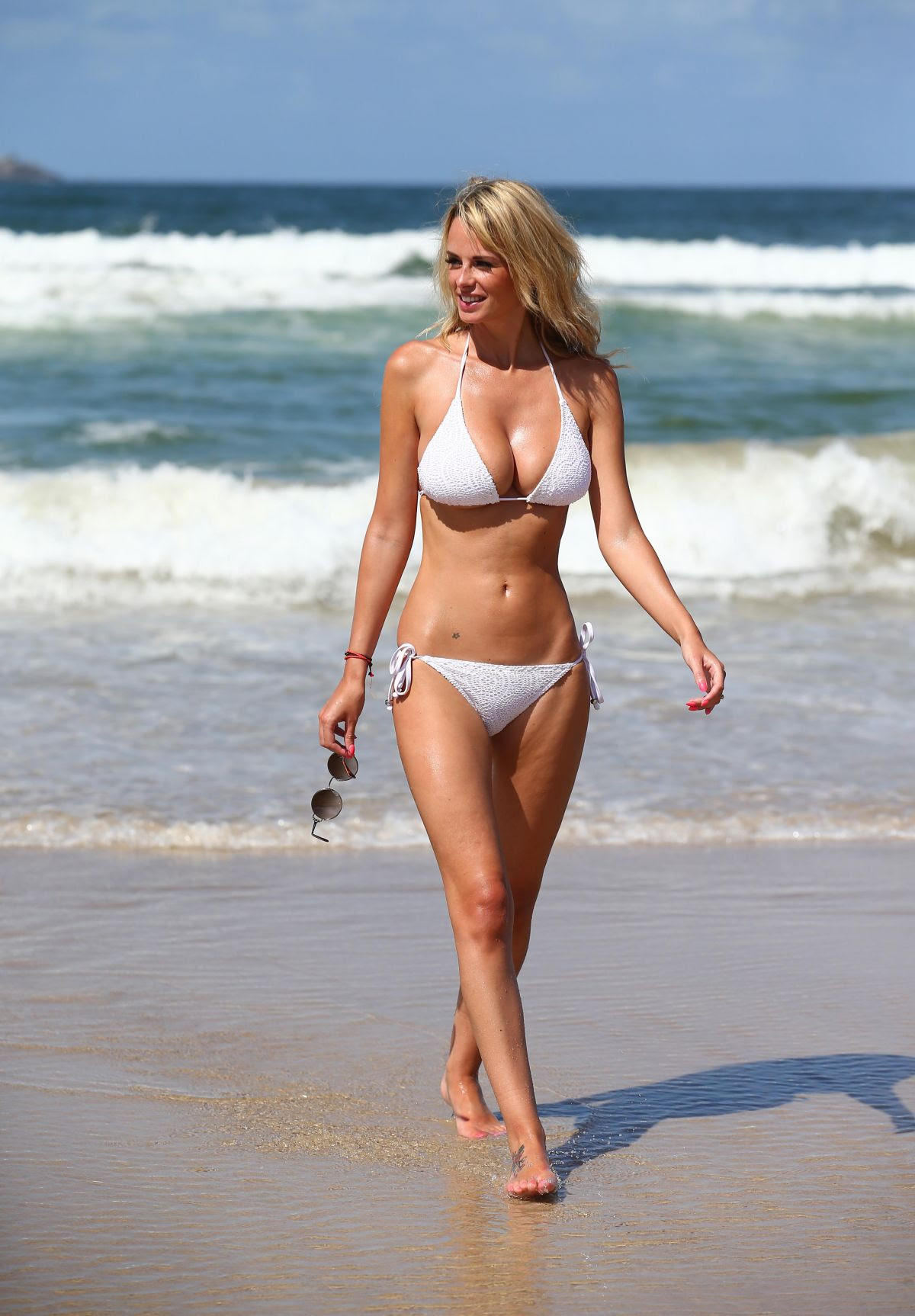 RHIAN SUGDEN in Bikini at Belongil Beach in New South Wales