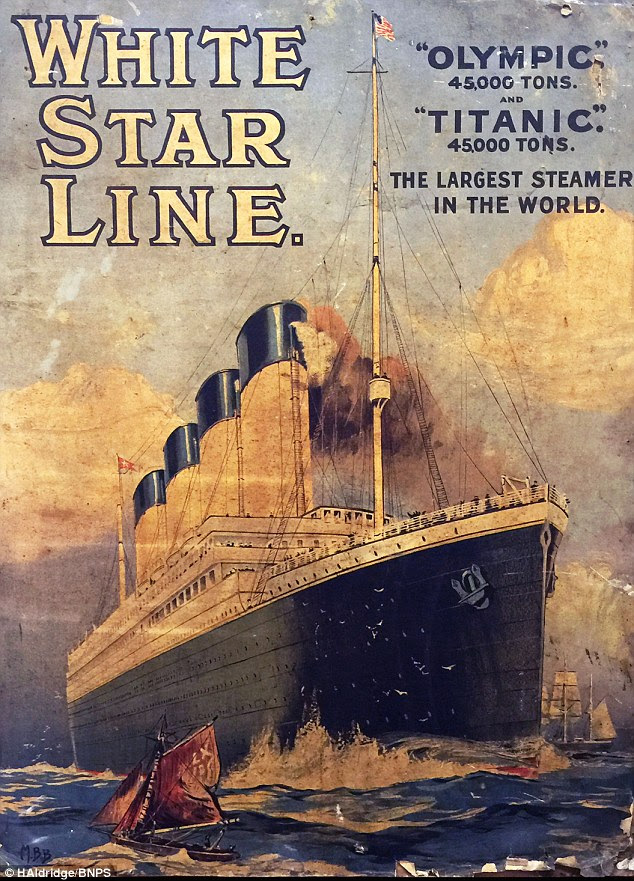 The lithographic print (pictured) is one of three adverts produced in 1911 for the White Star Line promoting trips on the Titanic and sister ship the Olympic. It wasfound on the back of a painting hidden behind a false wall