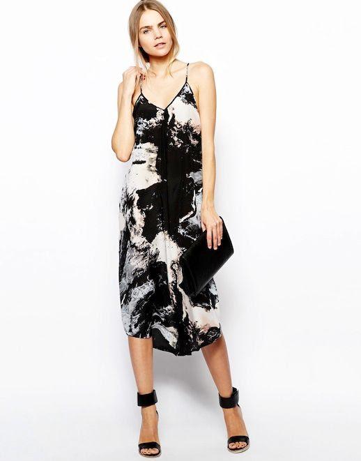 Le Fashion Blog Gimme Gimme Marble Print Dress Front Sleeveless Strappy Midi Dress Aryn K Printed Silk Maxi Dress with Uneven Hem ASOS White Wisdom Leather High Sandal photo Le-Fashion-Blog-Gimme-Gimme-Marble-Print-Dress-Front-1.jpg