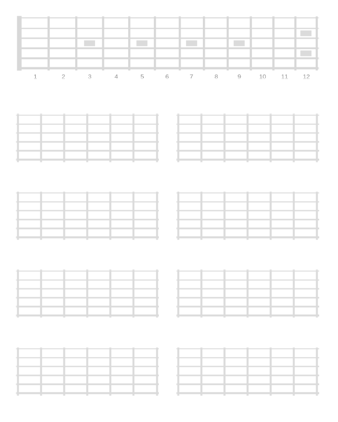 Printable Blank Fretboard Diagrams - Right and Left Handed