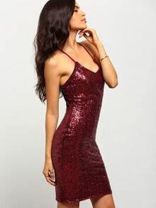 Burgundy Spaghetti strap Sequined Dress