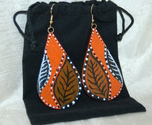 Orange and Black Leaf Earrings Glass and by ALihlBestCreations