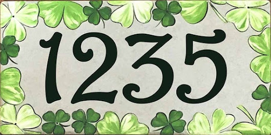 Vertical or horizontal lucky Irish house number plaque, Green Clover ceramic house numbers, Shamrock door sign, Decorative St Patricks gift