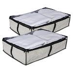 DII Modern Plastic Medium Damask Under-The-Bed Soft Storage in Beige (Set of 2) - CAMZ36700