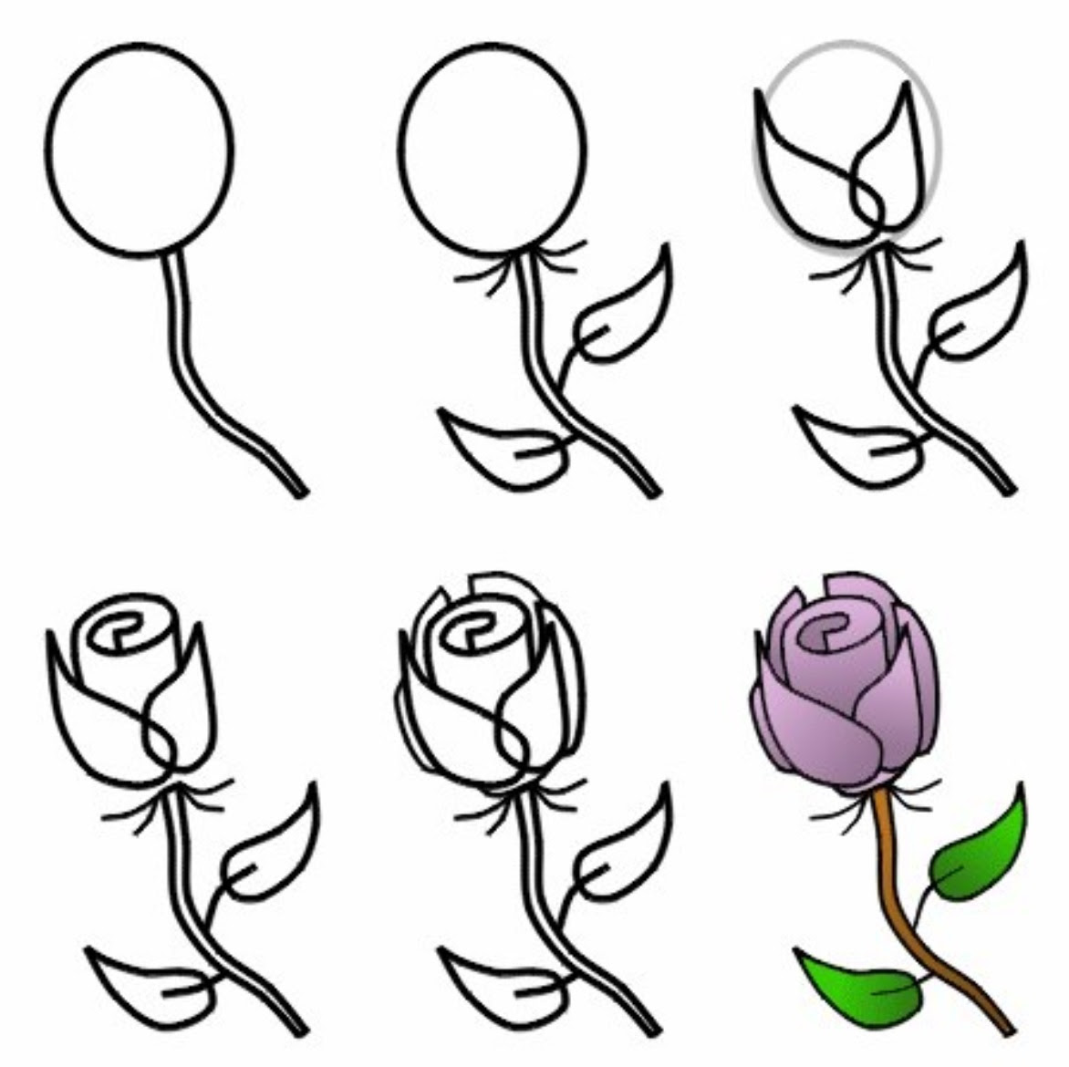 How To Draw A Simple Rose For Kids