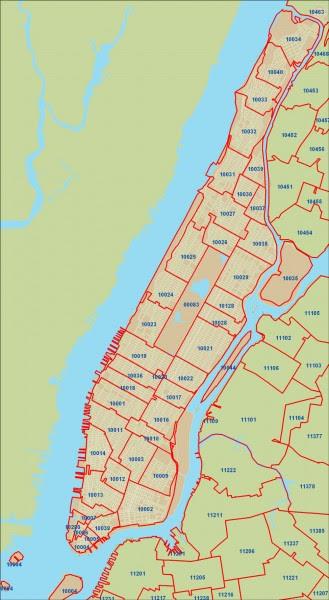 New York City Zip Codes Map New York Zip Code Map Manhattan | Time Zone Map