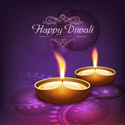 Free Vector Traditional Happy Diwali Logo On Purple Poster Template
