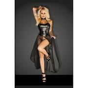 Hot  New Women Erotic Dress Halter Shape Waist Faux Leather Top Transparent Voile Hem Sexy Lingerie Viny