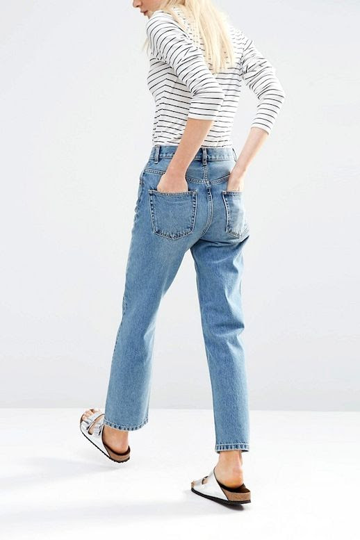 Le Fashion Blog Striped Tee Shirt Light Wash Vintage Inspired Jeans Under $50 Budget Friendly Metallic Silver Sandals