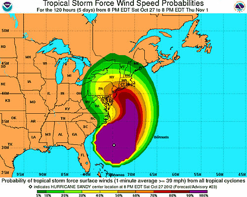 Probability cone for Hurricane Sandy