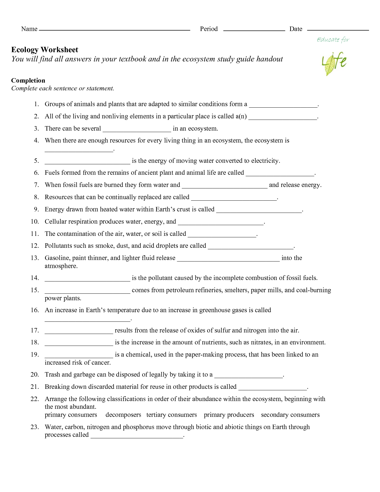 32 The Carbon Cycle Worksheet Answers