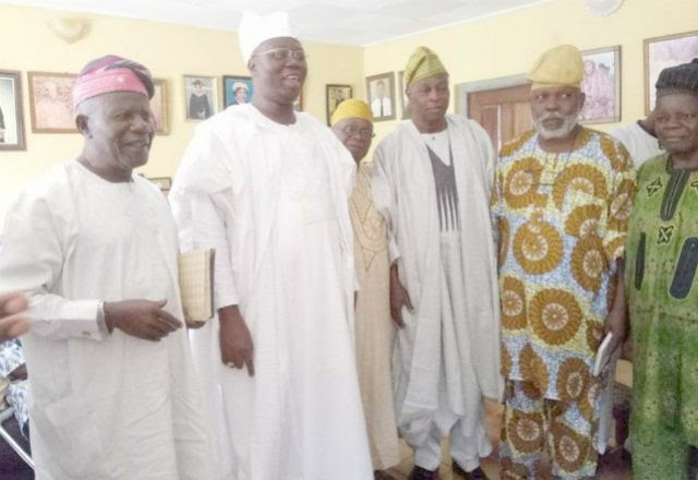 Aare Gani Adams, second from left, with Chief Olu Falae and others...